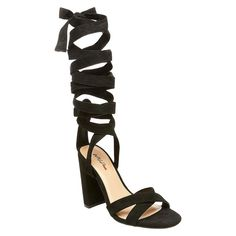 Women's Kayson Block Heel Pumps with Ankle Wrap Mossimo Black -