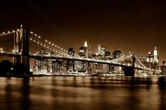 Brooklyn Bridge - Yellow - Fototapeter & Tapeter - Photowall
