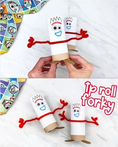 Toilet Paper Roll Forky Craft - Recycled Crafts For Kids - Make this cute and easy toilet paper roll Forky! He's a fun recycled craft project that Toy Story - Recycled Crafts Kids, Easy Crafts For Kids, Toddler Crafts, Crafts To Make, Fun Crafts, Cardboard Crafts Kids, Summer Camp Crafts, Recycle Crafts, Children Crafts