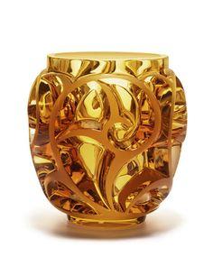 H7WX4 Lalique Tourbillons Amber Vase