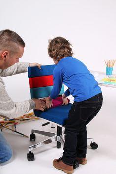 """Kinderleicht in der """"Installation"""": Pad, Klett, fertig! Wer Schuhe mit Klettverschluss schließen kann, der kann auch seinen eigenen Stuhl gestalten. Eigenen Geschmack und Selbstständigkeit entwickeln leicht gemacht!"""