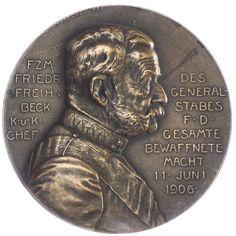 einseitige AE-Medaille 1906,  Med: R. Marschall, Friedrich Freiherr von Beck, Büste nach rechts