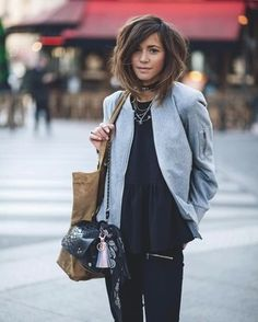 7a0c8a5950110 Comment porter  blouson aviateur en laine gris, top à basque noir, jean  skinny