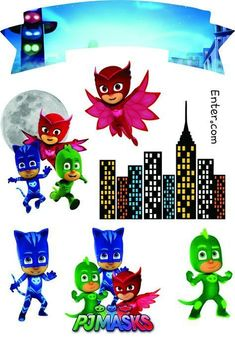 COMO FAZER CENTRO DE MESA FESTA PJ MASKS LAGARTIXA Pj Mask Party Decorations, Diy Birthday Decorations, Pj Masks Printable, Printable Stickers, Wild One Birthday Party, Boy Birthday Parties, Pj Masks Images, Pj Masks Stickers, Pj Masks Cake Topper