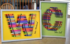 Crayon Monograms for teachers gifts- Must make one of these for Airalies teacher. He started off as a student teacher & got to take over teacher the class, as her current teacher took long service leave. THIS is the FIRST GREAT primary school teacher my daughter has had. They are few & far between