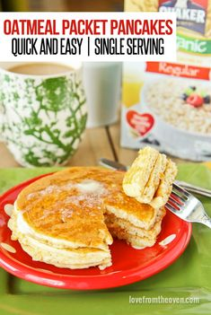 Oatmeal Packet Pancakes. A delicious and easy way to make a single serving of pancakes.