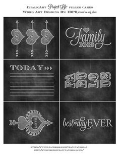 Chalk Art Project Life Card Freebie #freeprintables