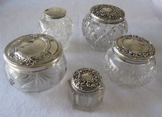 vintage etched glass dresser containers | Vintage sterling silver and cut glass dresser jar from ...