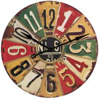 Road Trip Wall Clock - I think I have enough old license plates to make this :)