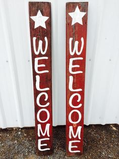 Antique Barnwood outdoor or indoor vertical Welcome sign with Star by CornerPostEllensburg on Etsy
