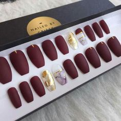 Rose gold chrome press on nails matte by nailedbycristy on etsy matte burgundy press on nails with marble gold leaf accent nails prinsesfo Choice Image