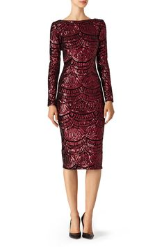 2704e6328a9 Rent Burgundy Emery Dress by Dress The Population for  40 only at Rent the  Runway.