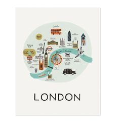 London Illustrated Art Print by Rafle Paper Co