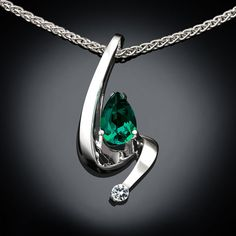 Emerald and White Sapphire Necklace - Argentium Silver - 3380 - Argentium Chain Included  A contemporary, yet timeless design by award