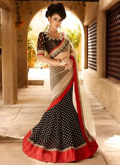 Charismatic Black N Cream #LehengaSaree