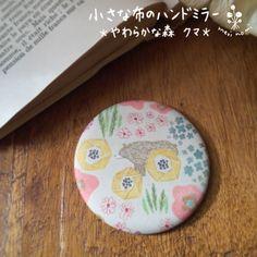 小さな布のハンドミラー【やわらかな森 クマ】 - merinomi