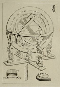 1837 Antique print of CHINA: SPHERE of EMPEROR Shun. Astronomy. 179 years old…
