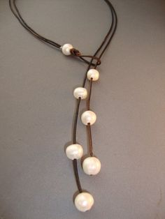 Pearls and Leather Lariat #diy #inspo #accessories