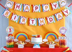 Rainbow Birthday Party Package Personalized MINI by venspaperie
