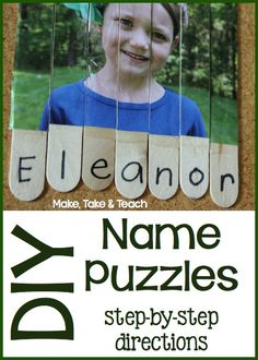 ARTS AND CRAFTS CAMP Step-by-step directions for making your own name puzzles. Great for beginning name recognition! Kindergarten Names, Preschool Names, Preschool Literacy, Early Literacy, Classroom Activities, Learning Activities, Preschool Activities, Kids Learning, Alphabet Activities