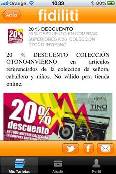 20% DESCUENTO EN COMPRAS SUPERIORES A 30€ COLECCIÓN OTOÑO-INVIERNO en Tino González con Fidiliti