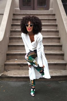Solange Knowles has such a great sense of style. She doesn't do the Barbie doll, hair weave thing. She is a true fashion forward fashionista, not a follower. Biddy Craft