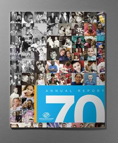Caelin Richards- love how the pictures make up the cover. Annual Report Layout, Annual Report Covers, Cover Report, Annual Reports, Web Design, Report Design Template, Company Anniversary, 50th Anniversary, Yearbook Design