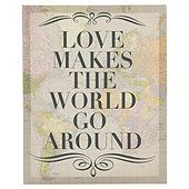 Love Makes the World go Round Map Canvas 30 x 37cm