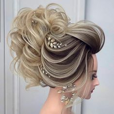 Side Ponytail Hairstyles, Open Hairstyles, Elegant Hairstyles, Pretty Hairstyles, Wedding Hairstyles, Elegant Wedding Hair, Wedding Hair And Makeup, Hair Makeup, Hair Style Girl Image