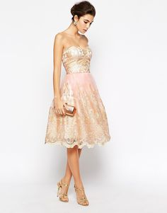 Image 4 of Chi Chi London Premium Metallic Lace Bandeau Midi Prom Dress