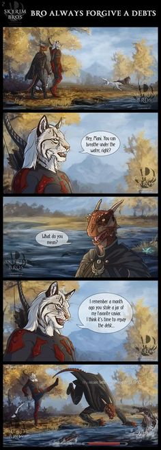 Next Learn to draw comics Skyrim. My white khajiit Anhat and argonian Many Grabis (redone Money Rob) of my friend. I love this duet, I want to draw more stories with their adventures ...