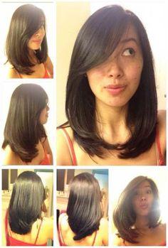 Layered straight medium length asian hair side swept bangs fun and … – Damen Haare Trendy Haircut, Haircuts Straight Hair, Haircuts With Bangs, Layered Haircuts, Straight Bangs, Straight Cut, Asian Haircut, Straight Fringes, Long Fringes