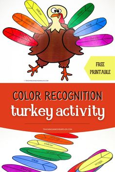 Work on color skills with this fun Thanksgiving turkey printable. Can be used during circle time or as an independent activity! #Thanksgiving #turkey #colors #activity #printable #circletime #2yearolds #3yearolds #teaching2and3yearolds