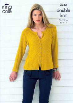 Top and Cardigan in King Cole Bamboo Cotton DK (3322)   DK Knitting Patterns   Knitting Patterns   Deramores