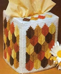 Items similar to FALL LEAVES Colorful Boutique Size Tissue Box Cover - Fall Home Decor - Needlepoint on Plastic Canvas - Handmade - Hand Stitched on Etsy Plastic Canvas Ornaments, Plastic Canvas Tissue Boxes, Plastic Canvas Crafts, Plastic Canvas Stitches, Plastic Canvas Patterns, Bargello Patterns, Wonder Art, Crochet Fall, Box Patterns