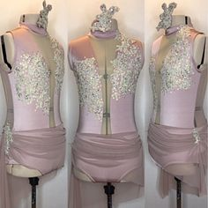 Yes! Stunning rose gold custom dance costume with antique gold appliqués on the bodice. A beautiful rouched skirt adds to the romance.  gLAM by Adora - Costumes