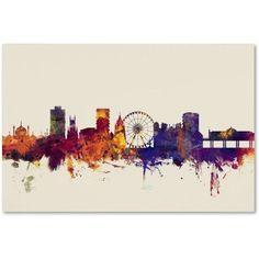Trademark Fine Art Brighton England Skyline Canvas Art by Michael Tompsett, Size: 22 x 32, Purple