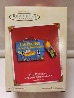 NIB 2002 Hallmark The Beatles Yellow Submarine Lunchbox Set of 2 Ornaments NEW  #TheBeatles #Hallmark #Keepsake #Christmas #Lunchbox #YellowSubmarine #Yellow #Submarine