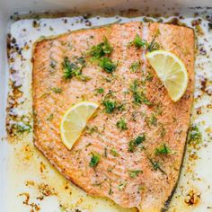 One Pan Garlic Dill Lemon Baked Salmon Recipe - ready in under 30 minutes, simple and delicious sheet pan dinner that could be paired with a salad or roasted veggies for the perfect effortless nutritious meal. All you need are seven staple ingredients. Salmon Recipes Stove Top, Baked Salmon Recipes, Seafood Recipes, Dinner Recipes, Roast Recipes, Seafood Dishes, Fish Recipes, Chicken Recipes, Dessert Recipes