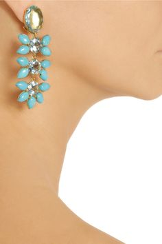 Bounkit Gold-plated, turquoise and quartz clip earrings 