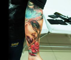 Woman Face tattoo by Led Coult