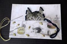 Cartes à broder à la chat-chas