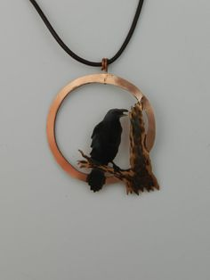 Handcrafted black patina copper crow pendant #1