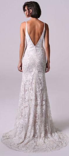 Spaghetti straps v neckline open back Fit and flare wedding dress : Michal Medina #weddingdress #weddingdresses