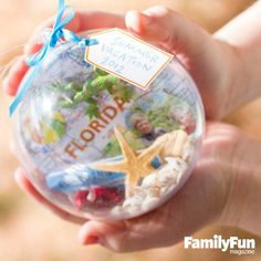 Souvenir Ornament: The Brunicardis of Galloway, Ohio, have found a clever way to savor vacation memories: they preserve small mementos from each trip, such as ticket stubs and nature finds, in an inexpensive, clear plastic ornament ball. Each Christmas, they're reminded of all the great places they've been.