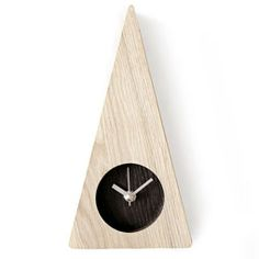 Ash Wood Triangle Design Minimalist Wall Mount Non-Ticking Silent Clock