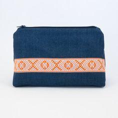Blue Linen Travel Pouch  Colorful Zipper Bag  Bohemian