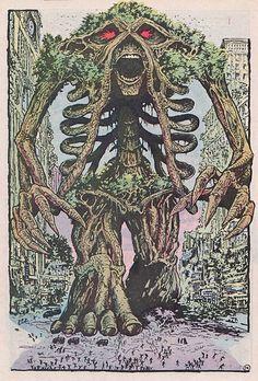 Swamp Thing as a weird tree skeleton thing.