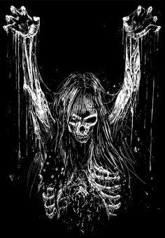 Skull Art by Mark Riddick ☠️ Dark Artwork, Dark Art Drawings, Metal Artwork, Arte Horror, Horror Art, Arte Heavy Metal, Rock Kunst, Metal Band Logos, Arte Grunge