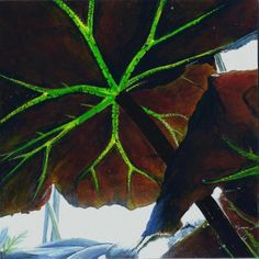 acrylic painting leaves